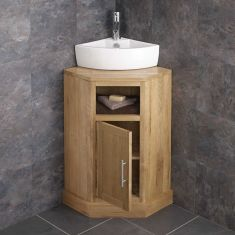 Cube Corner Oak Cabinet With Basin