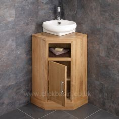 Cube Corner Oak Cabinet With 360mm Basin