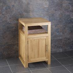Cube Narrow Solid Oak Cabinet