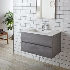 Large Grey Ash Two Drawer Wall Hung Vanity Cabinet with Basin Set 900mm DECO