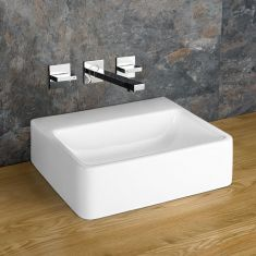Countertop No Tap Hole Rectangular White Basin 400mm x 300mm ELANA