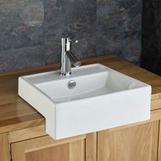 Small Semi Recessed White Counter Cloakroom Sink 390mm Square GANDRA