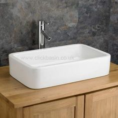 Large Counter Freestanding White Bathroom Basin 590mm x 360mm GROSSETO