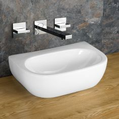 Bathroom Above Counter Rectangle Sink No Tap Hole 420mm x 280mm CANNES