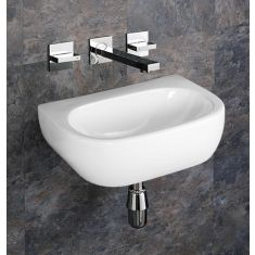Wall Hung Rectangle Bathroom Sink No Tap Hole 420mm x 280mm CANNES
