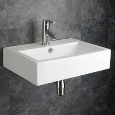 Wall Hung Large Rectangular White Bathroom Basin 550mm x 400mm LAMEZIA