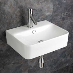 Wall Hung Mid Size Rectangle White Bathroom Sink 440mm by 360mm LATINA