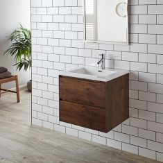 Rectangle Basin Set on Wall Hung Vanity Storage Unit 600mm Rosewood LENO