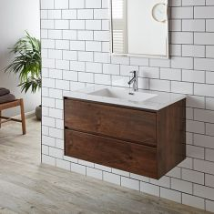 Large Wall Hung Vanity Storage Cabinet + Basin Set 900mm ROSEWOOD LENO