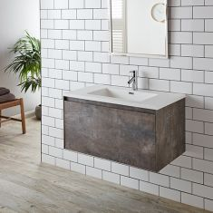 Large Wall Hung Stone Ash Grey Vanity Cabinet Basin Set 900mm LOFT