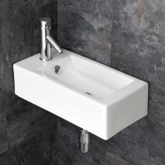 Narrow Wall Hung Cloakroom Ensuite Left Hand Sink 500mm x 255mm LUCCA