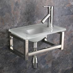 Matera Glass Basin and Chromed Stand