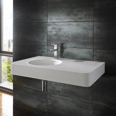 Rectangular Stone Resin White Wall Hung Sink 800mm x 480mm MAZE