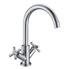 Milan 330mm Tall Monobloc Bathroom Mixer Bathroom Tap with Curved Spout