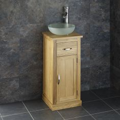 Small Oak Bathroom Storage Unit + Round Frosted Glass Basin Set CUBE37