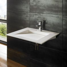 Nero Pure White Solid Surface Basin