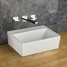 No Tap Hole Countertop Rectangular Bathroom Basin 385mm x 300mm NICE