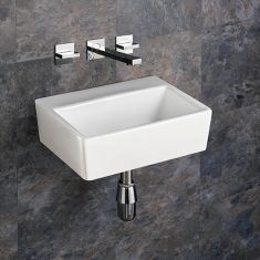 Wall Mounted No Tap Hole White Rectangular Basin 385mm x 300mm NICE