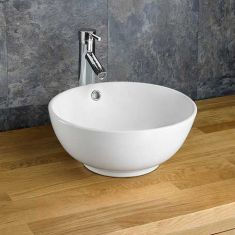 Cloakroom Countertop Round Ceramic White Washbasin Sink 380mm NORD