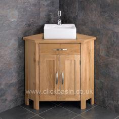 Ohio Solid Oak Corner Bathroom Cabinet