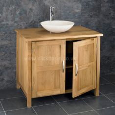 Ohio Solid Oak Double Door Bathroom Basin Cabinet With Portici Stone Basin