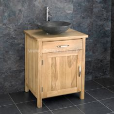 Solid Oak Single Door Bathroom Basin Cabinet With Portici Stone Basin