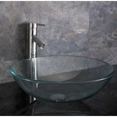 Large Round Clear Glass Above Counter Bathroom Basin 420mm PADOVA