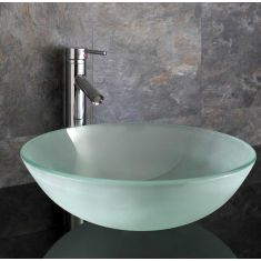 Round Frosted Large Glass Above Counter Bathroom Basin 420mm PADOVA