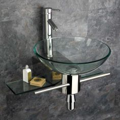 Padova Clear Glass 420mm Round Wall Mounted Wash Basin with Mount Set