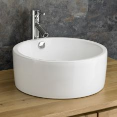 White Large Freestanding Round Bathroom Basin 420mm Diameter PESCARA