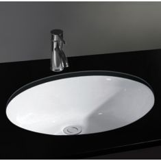 Oval Undercounter Inset Ceramic Bathroom Washbasin 465mm by 380mm PISA