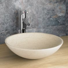 Counter Mounted Round Cream Galala Stone Bathroom Sink 400mm PORTICI