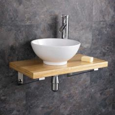 Bathroom Wood Wall Hung Shelf + 320mm White Round Bowl POTENZA