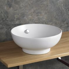 41cm Puglia Round Shaped White Ceramic Hand Basin with built in Overflow