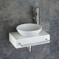 White Narrow Wood Shelf + Small Round Basin Set 400mm x 250mm TOULON