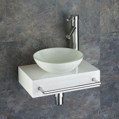 Slim White Wooden Shelf + White Glass Basin Set 400mm x 250mm TOULON