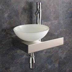 Narrow Metal Floating Shelf + Glass Bowl Set 410mm x 250mm LEFT SAVONA