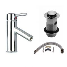 Bathroom Single Lever Mono Mixer Tap with Slotted Pop Up Waste