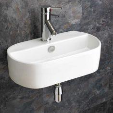 Wall Mounted Oval Ceramic Bathroom Washbasin 440mm x 300mm SIENNA