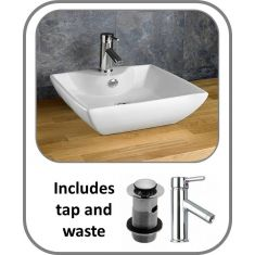 430mm Sintra Sink Basin With Tap and Waste Set