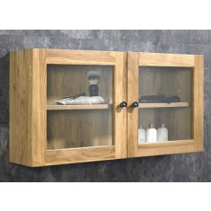 Wall Solid Oak Bathroom Wall Hung Glass Storage Cabinet  Large 750mm x 380mm