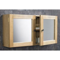 Large Solid Oak Bathroom Wall Hung Mirror Storage Cabinet  750mm x 380mm