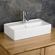 Counter Top Wide and Narrow White Rectangle Sink 550mm x 320mm PERUGIA