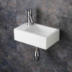 Wall Hung Narrow Rectangular Cloakroom Basin 360mm x 235mm TARANTO LEFT