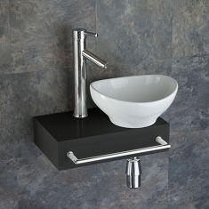 Narrow Black Floating Shelf + Oval Basin Set 400mm x 250mm TOULON