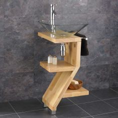 Trapani Wooden Unit and Glass Wash Basin
