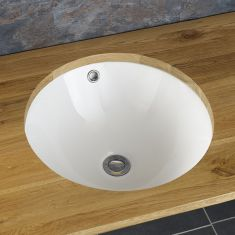 Round Large Undermount White Bathroom Basin 480mm Dia DELGADA