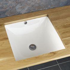 Large White Square Undermount Inset Bathroom WashBasin 440mm CASTELO