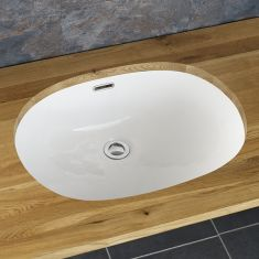 Oval Large Undermount Bathroom White Washbasin 540mm by 400mm SILVES