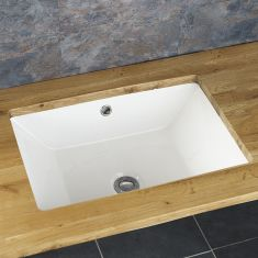 Large Undermount Rectangular White Bathroom Basin 550mm x 400mm SERPA